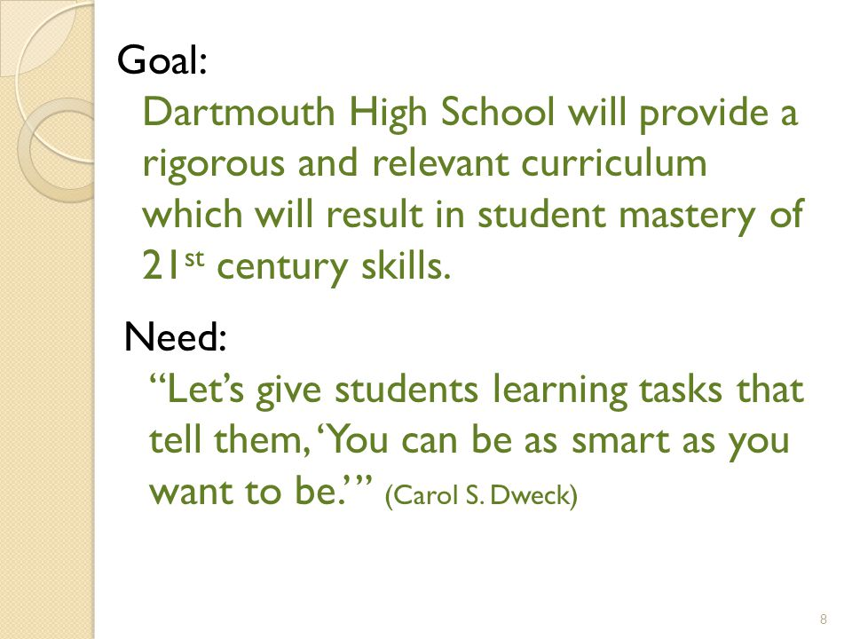 Need: Let's give students learning tasks that tell them, 'You can be as smart as you want to be.' (Carol S.