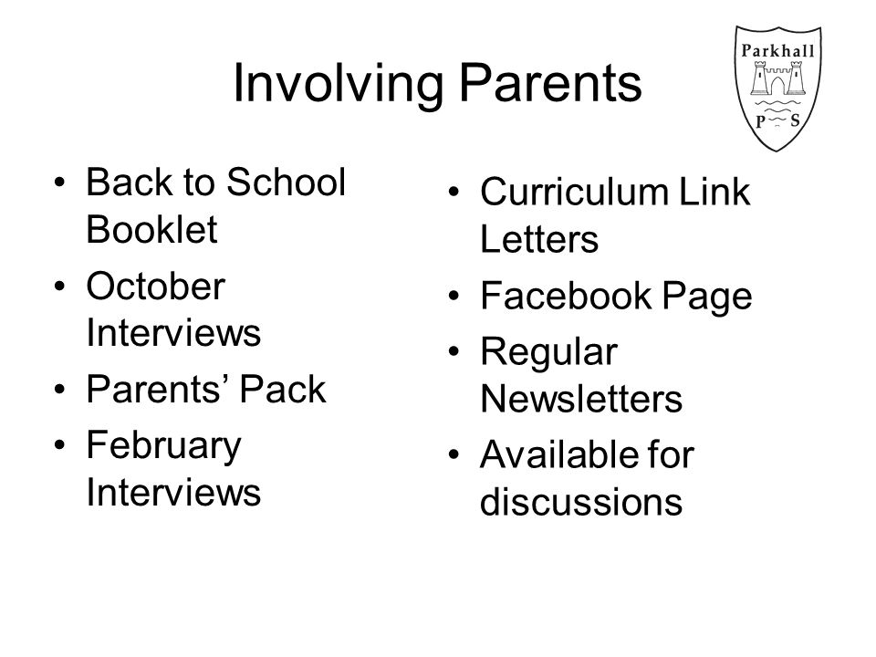 Involving Parents Back to School Booklet October Interviews Parents' Pack February Interviews Curriculum Link Letters Facebook Page Regular Newsletters Available for discussions