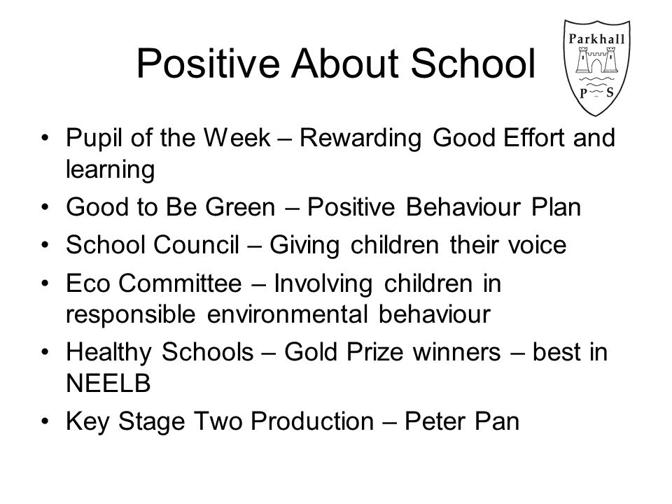 Positive About School Pupil of the Week – Rewarding Good Effort and learning Good to Be Green – Positive Behaviour Plan School Council – Giving children their voice Eco Committee – Involving children in responsible environmental behaviour Healthy Schools – Gold Prize winners – best in NEELB Key Stage Two Production – Peter Pan