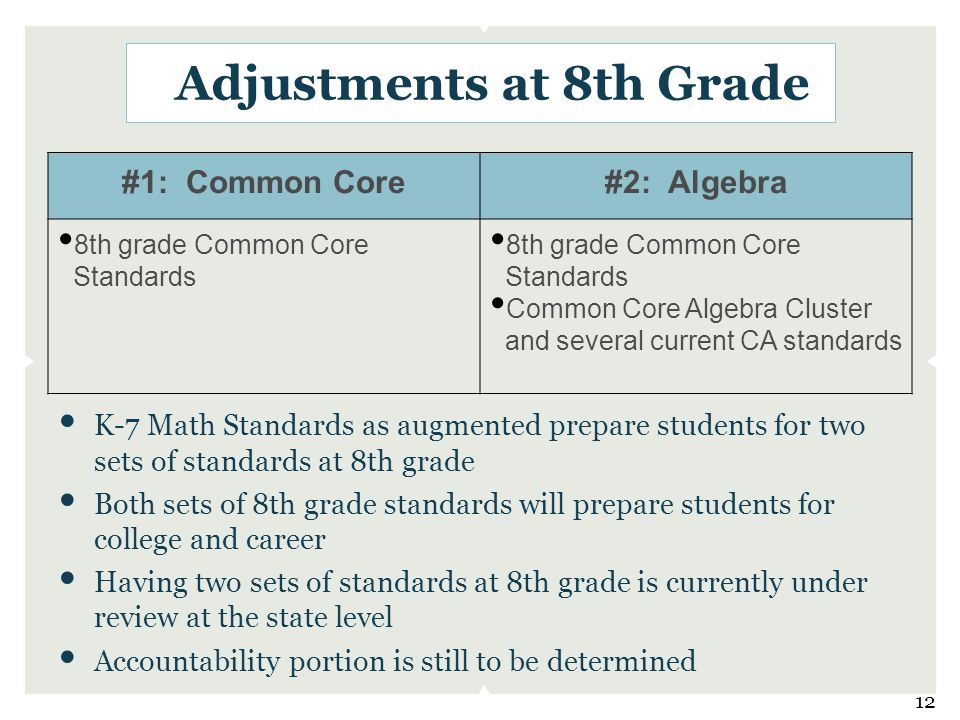 Adjustments at 8th Grade K-7 Math Standards as augmented prepare students for two sets of standards at 8th grade Both sets of 8th grade standards will prepare students for college and career Having two sets of standards at 8th grade is currently under review at the state level Accountability portion is still to be determined #1: Common Core#2: Algebra 8th grade Common Core Standards 8th grade Common Core Standards Common Core Algebra Cluster and several current CA standards 12