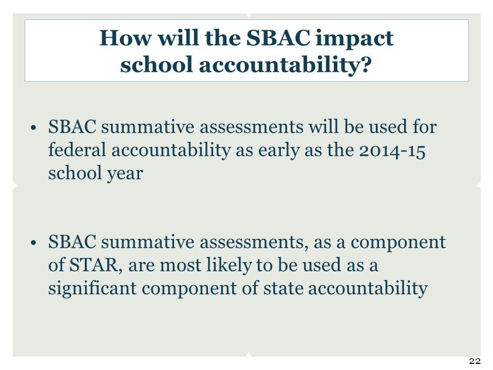 How will the SBAC impact school accountability.