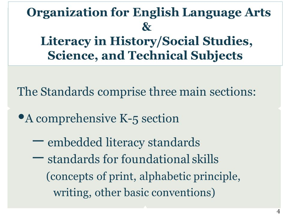 The Standards comprise three main sections: A comprehensive K-5 section – embedded literacy standards – standards for foundational skills (concepts of print, alphabetic principle, writing, other basic conventions) Organization for English Language Arts & Literacy in History/Social Studies, Science, and Technical Subjects 4