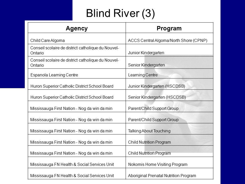 Blind River (3) AgencyProgram Child Care AlgomaACCS Central Algoma/North Shore (CPNP) Conseil scolaire de district catholique du Nouvel- OntarioJunior Kindergarten Conseil scolaire de district catholique du Nouvel- OntarioSenior Kindergarten Espanola Learning CentreLearning Centre Huron Superior Catholic District School BoardJunior Kindergarten (HSCDSB) Huron Superior Catholic District School BoardSenior Kindergarten (HSCDSB) Mississauga First Nation - Nog da win da minParent/Child Support Group Mississauga First Nation - Nog da win da minParent/Child Support Group Mississauga First Nation - Nog da win da minTalking About Touching Mississauga First Nation - Nog da win da minChild Nutrition Program Mississauga First Nation - Nog da win da minChild Nutrition Program Mississauga FN Health & Social Services UnitNokomis Home Visiting Program Mississauga FN Health & Social Services UnitAboriginal Prenatal Nutrition Program