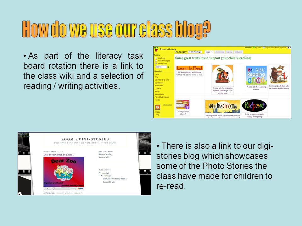 As part of the literacy task board rotation there is a link to the class wiki and a selection of reading / writing activities.