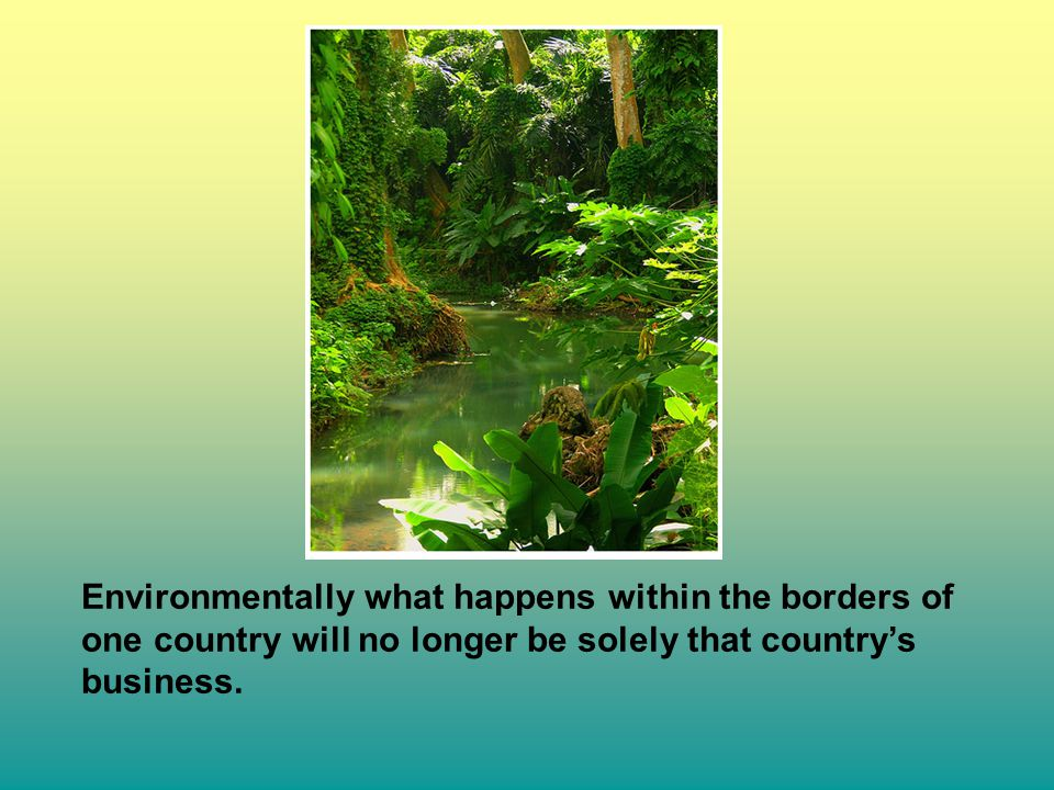 Environmentally what happens within the borders of one country will no longer be solely that country's business.