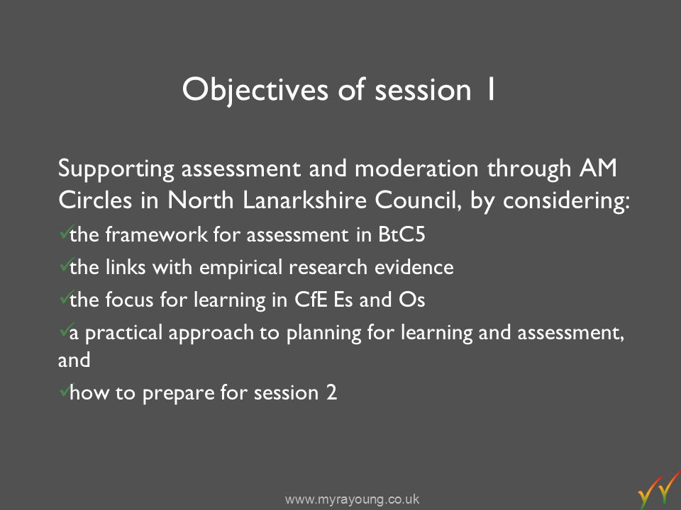 www.myrayoung.co.uk Planning for valid assessment What is the learning purpose identified from the Es and Os.