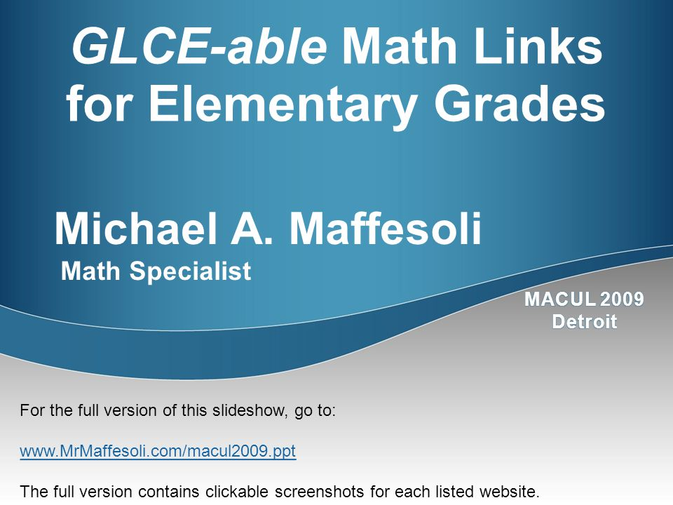 GLCE-able Math Links for Elementary Grades Michael A.