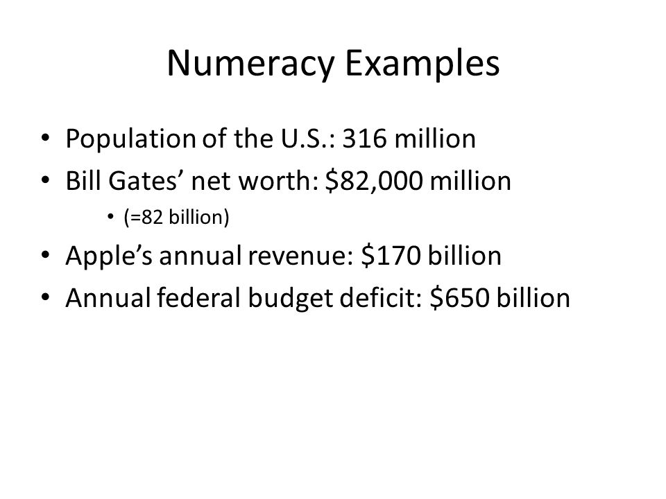 Numeracy Examples Population of the U.S.: 316 million Bill Gates' net worth: $82,000 million (=82 billion) Apple's annual revenue: $170 billion Annual federal budget deficit: $650 billion
