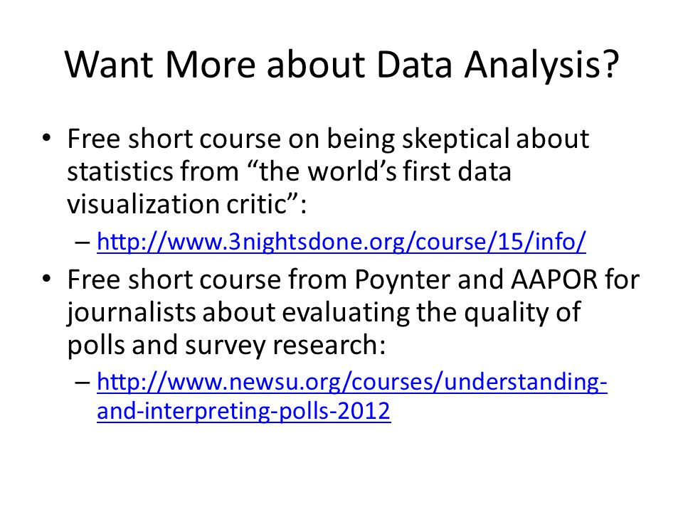 Want More about Data Analysis.