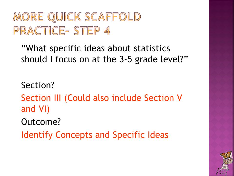 What specific ideas about statistics should I focus on at the 3-5 grade level? Section.