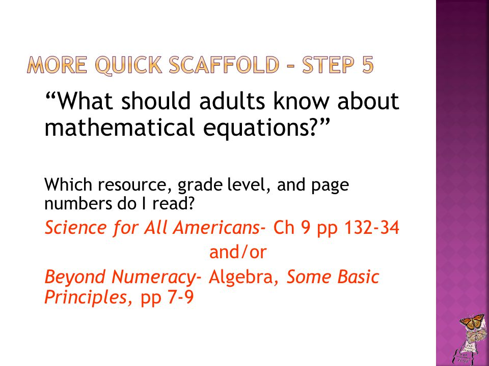 What should adults know about mathematical equations? Which resource, grade level, and page numbers do I read.