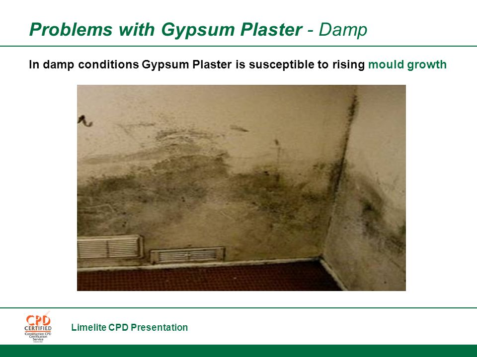 Limelite CPD Presentation Problems with Gypsum Plaster - Damp In damp conditions Gypsum Plaster is susceptible to rising mould growth