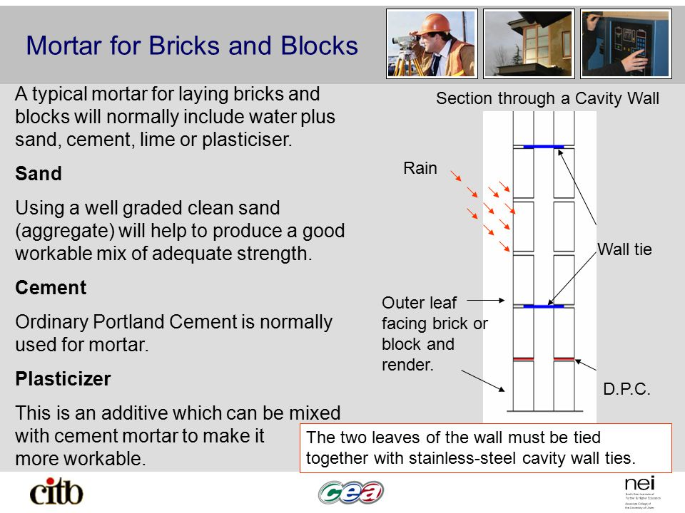 Mortar for Bricks and Blocks Outer leaf facing brick or block and render.