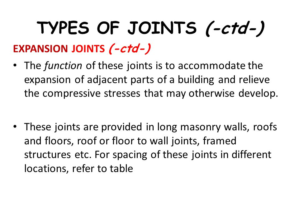 TYPES OF JOINTS (-ctd-) EXPANSION JOINTS (-ctd-) The function of these joints is to accommodate the expansion of adjacent parts of a building and reli