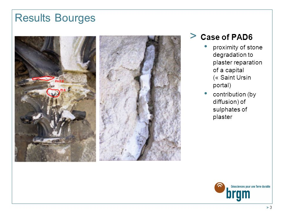 > 3 Results Bourges > Case of PAD6 proximity of stone degradation to plaster reparation of a capital (« Saint Ursin portal) contribution (by diffusion) of sulphates of plaster