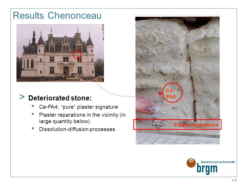 > 3 Results Chenonceau > Deteriorated stone: Ce-PA4: pure plaster signature Plaster reparations in the vicinity (in large quantity below) Dissolution-diffusion processes Ce- PA4 Plaster reparations
