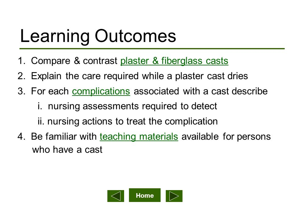 Home Learning Outcomes 1.