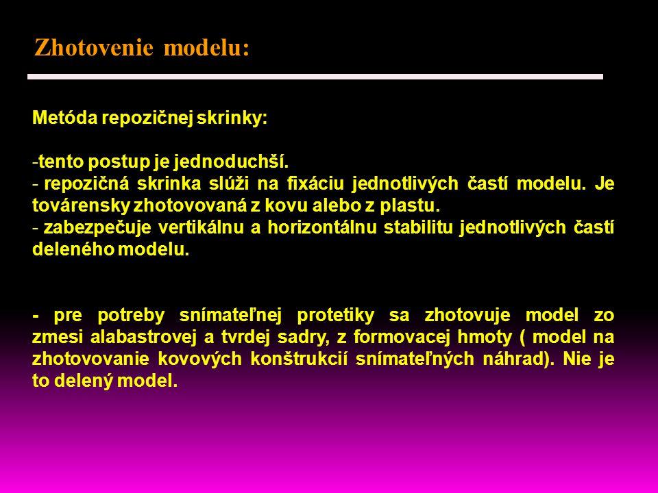 Zhotovenie modelu: Metóda repozičnej skrinky: -tento postup je jednoduchší.