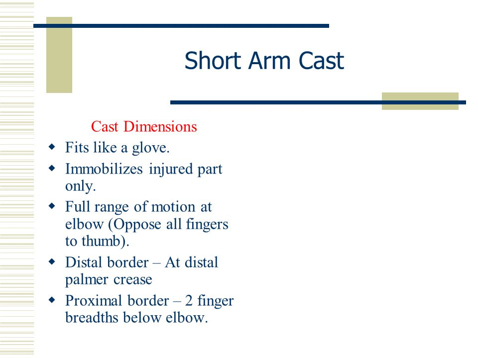 Cast Dimensions  Fits like a glove.  Immobilizes injured part only.  Full range of motion at elbow (Oppose all fingers to thumb).  Distal border –