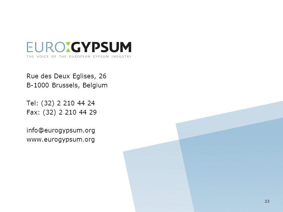 Rue des Deux Eglises, 26 B-1000 Brussels, Belgium Tel: (32) 2 210 44 24 Fax: (32) 2 210 44 29 info@eurogypsum.org www.eurogypsum.org 23