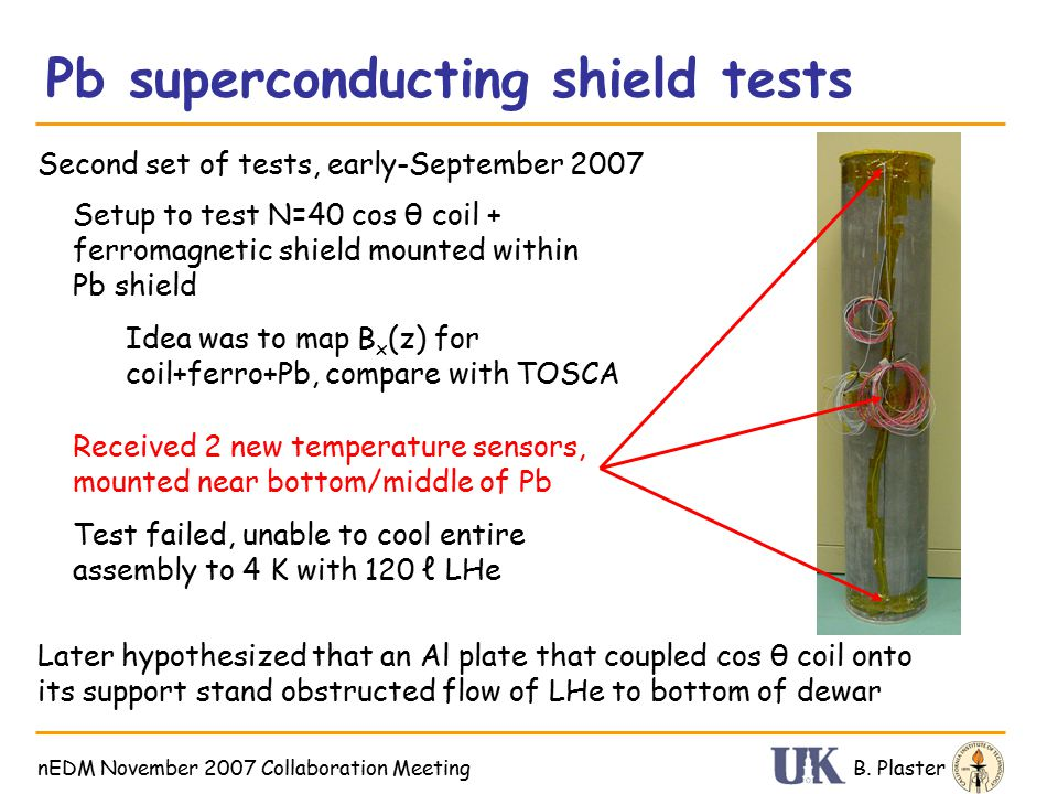Pb superconducting shield tests B.