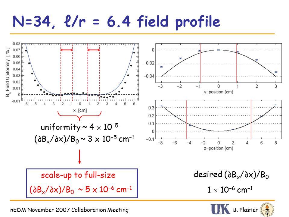 N=34, ℓ/r = 6.4 field profile B. PlasternEDM November 2007 Collaboration Meeting Test at 77 K