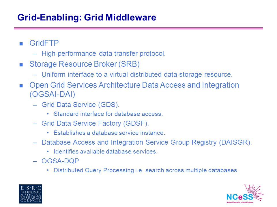 Grid-Enabling: Grid Middleware n GridFTP –High-performance data transfer protocol. n Storage Resource Broker (SRB) –Uniform interface to a virtual dis
