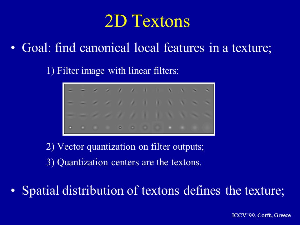 ICCV 99, Corfu, Greece 2D Textons Goal: find canonical local features in a texture; 1) Filter image with linear filters: 2) Vector quantization on filter outputs; 3) Quantization centers are the textons.