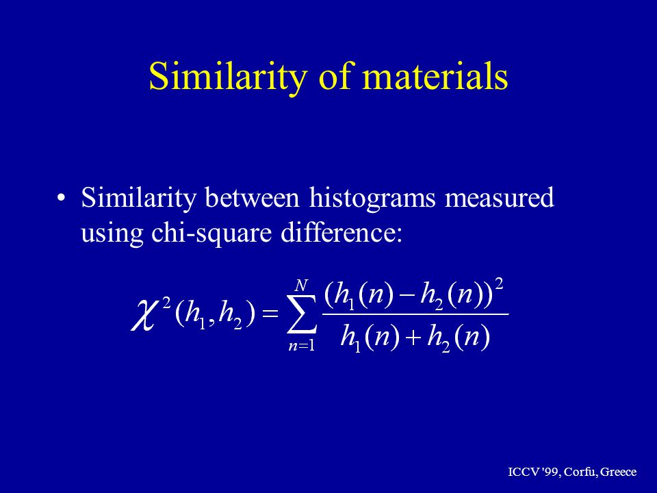 ICCV 99, Corfu, Greece Similarity of materials Similarity between histograms measured using chi-square difference: