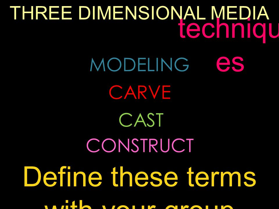 THREE DIMENSIONAL MEDIA MODELING CARVE CAST CONSTRUCT techniqu es Define these terms with your group