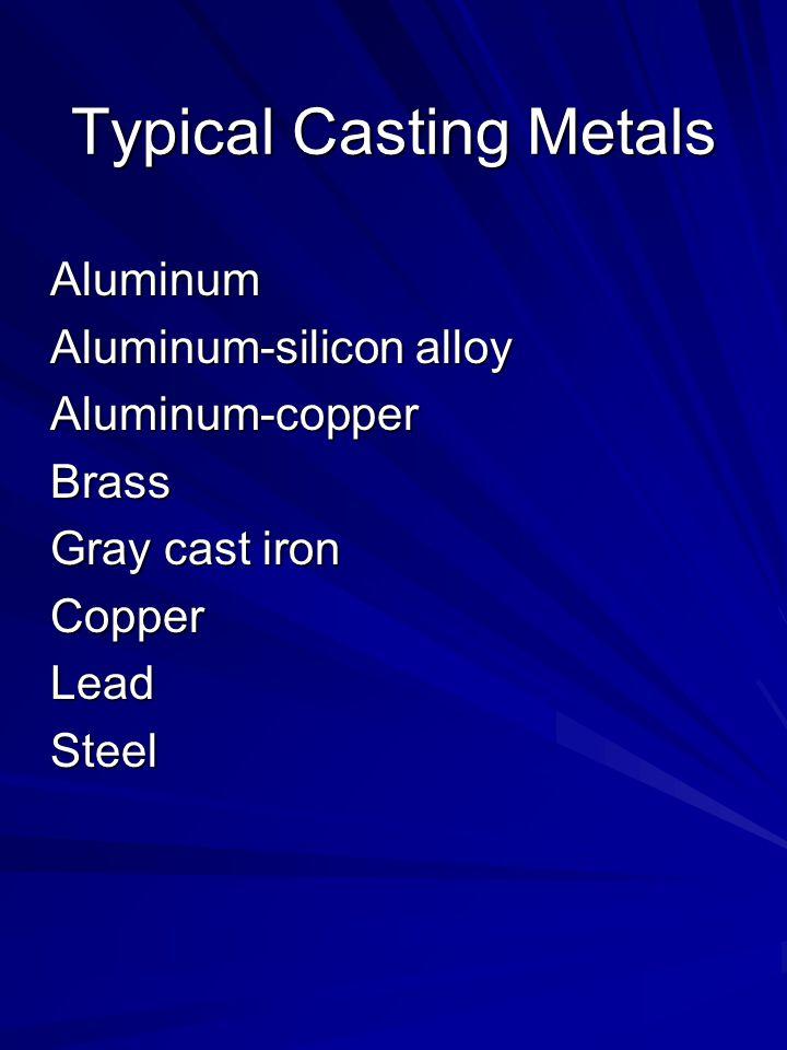 Typical Casting Metals Aluminum Aluminum-silicon alloy Aluminum-copperBrass Gray cast iron CopperLeadSteel