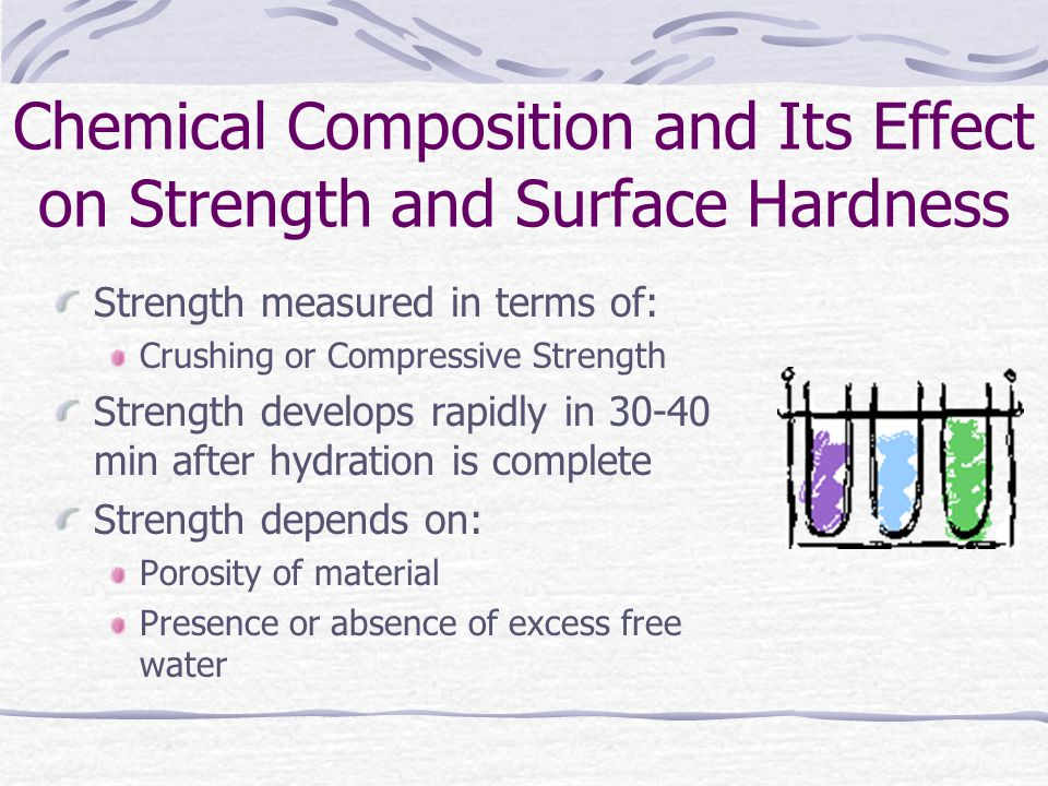 Chemical Composition and Its Effect on Strength and Surface Hardness Strength measured in terms of: Crushing or Compressive Strength Strength develops rapidly in 30-40 min after hydration is complete Strength depends on: Porosity of material Presence or absence of excess free water
