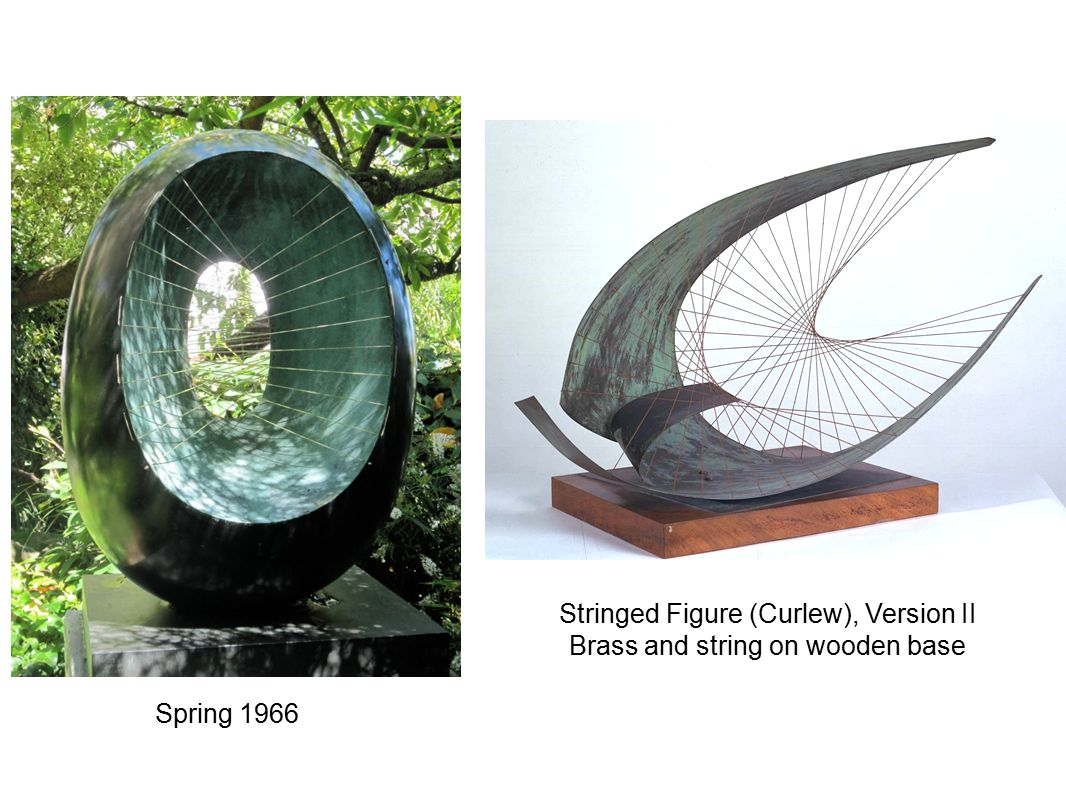 Spring 1966 Stringed Figure (Curlew), Version II Brass and string on wooden base