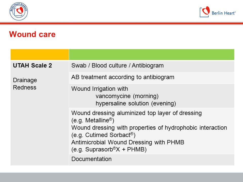 Wound care UTAH Scale 2 Drainage Redness Swab / Blood culture / Antibiogram AB treatment according to antibiogram Wound Irrigation with vancomycine (m
