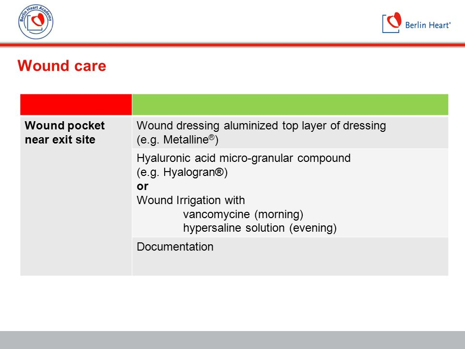 Wound care Wound pocket near exit site Wound dressing aluminized top layer of dressing (e.g. Metalline ® ) Hyaluronic acid micro-granular compound (e.