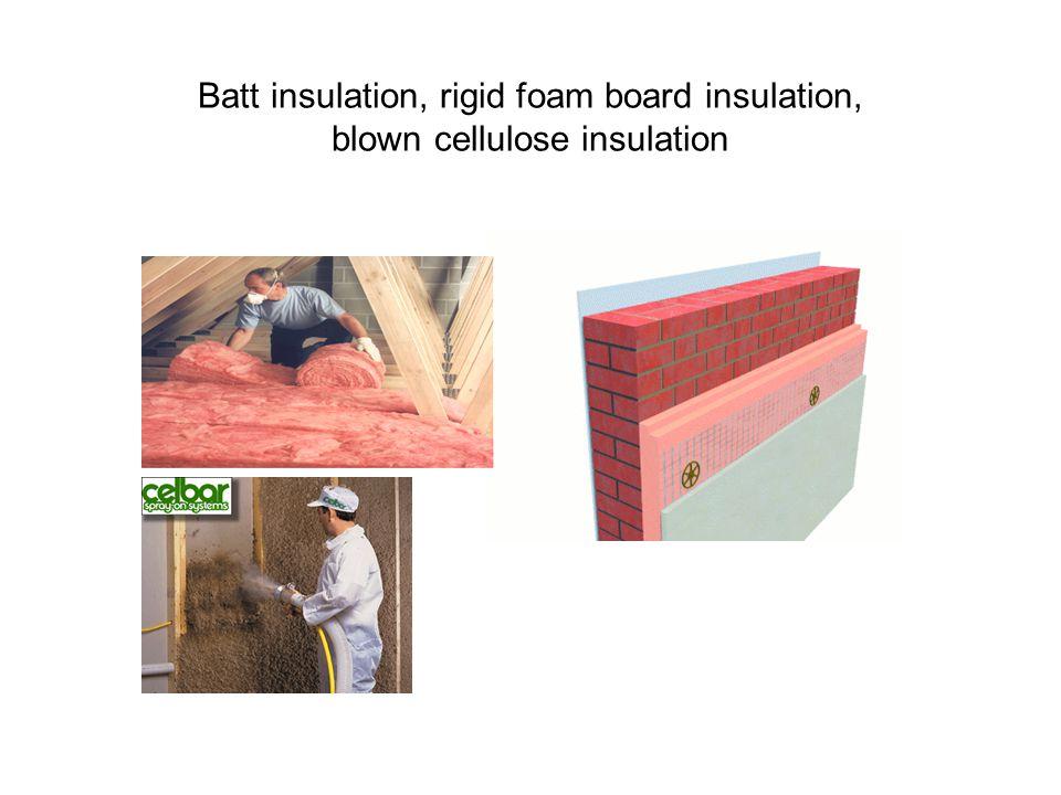 Batt insulation, rigid foam board insulation, blown cellulose insulation