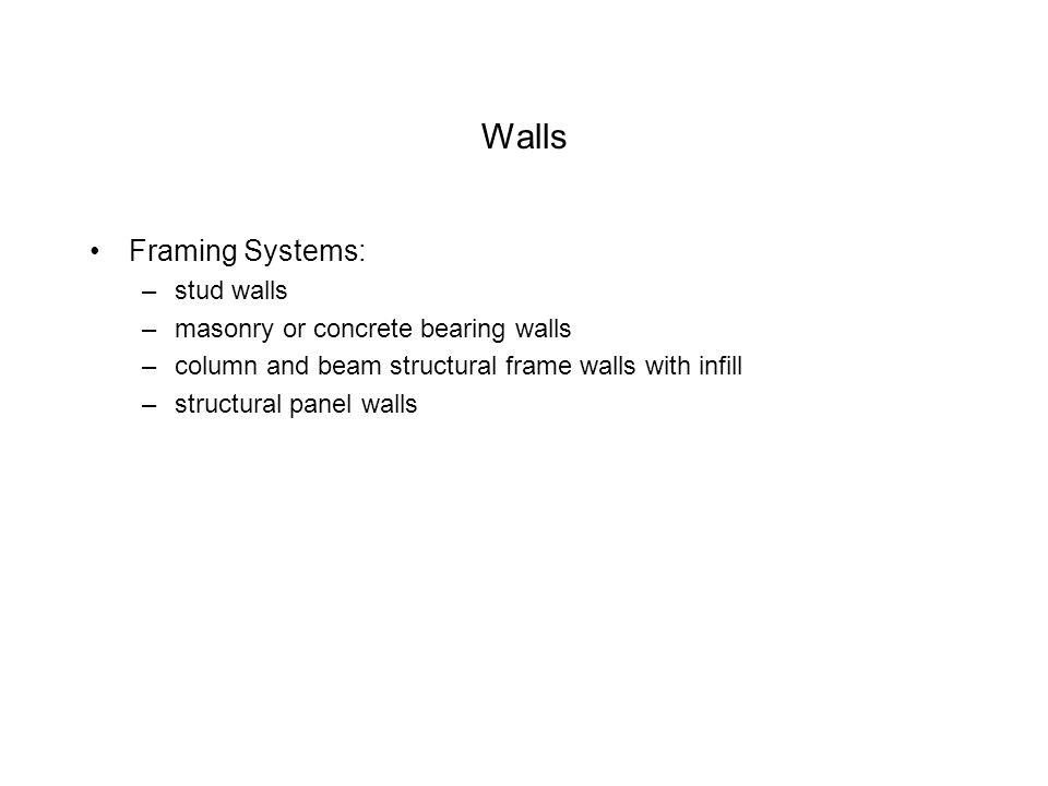 Walls Framing Systems: –stud walls –masonry or concrete bearing walls –column and beam structural frame walls with infill –structural panel walls