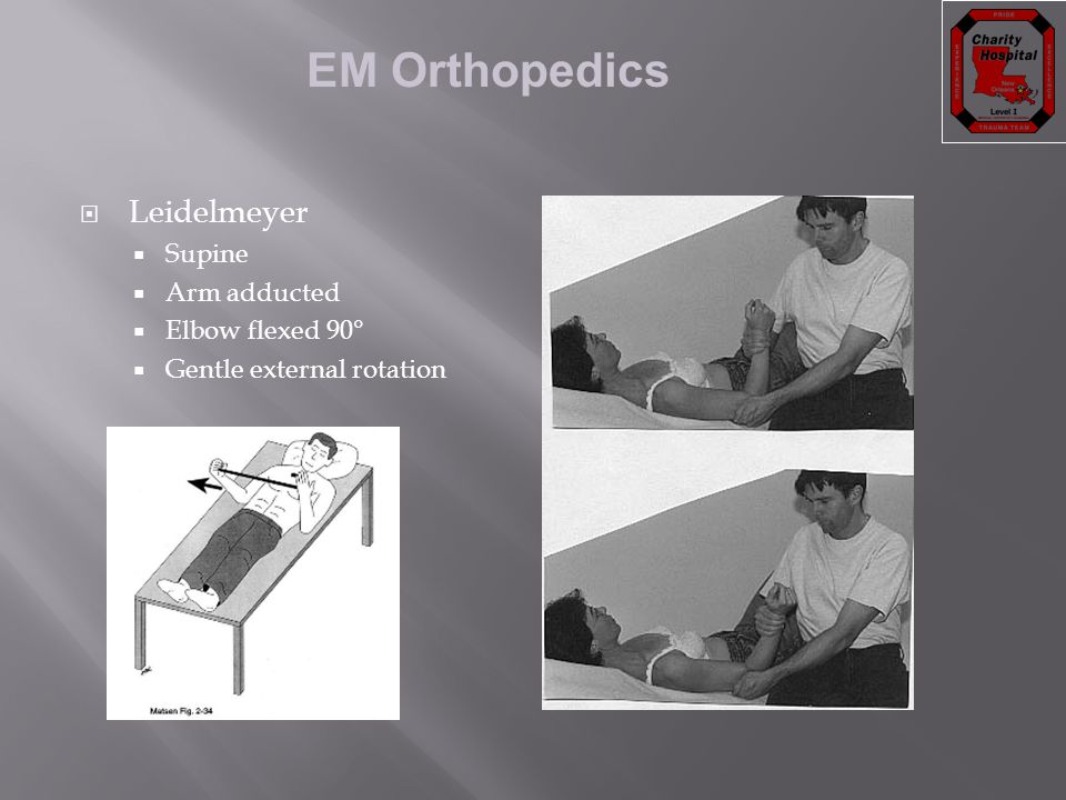 EM Orthopedics  Leidelmeyer  Supine  Arm adducted  Elbow flexed 90°  Gentle external rotation