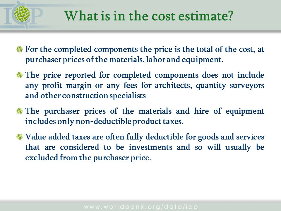 What is in the cost estimate.