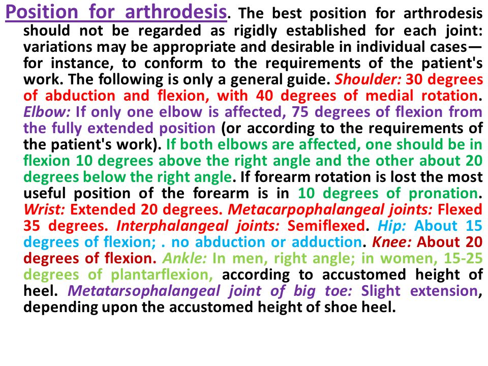 Position for arthrodesis.