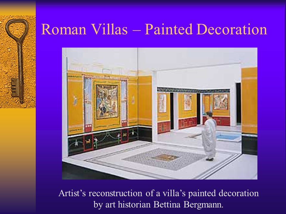 Roman Villas – Painted Decoration Artist's reconstruction of a villa's painted decoration by art historian Bettina Bergmann.