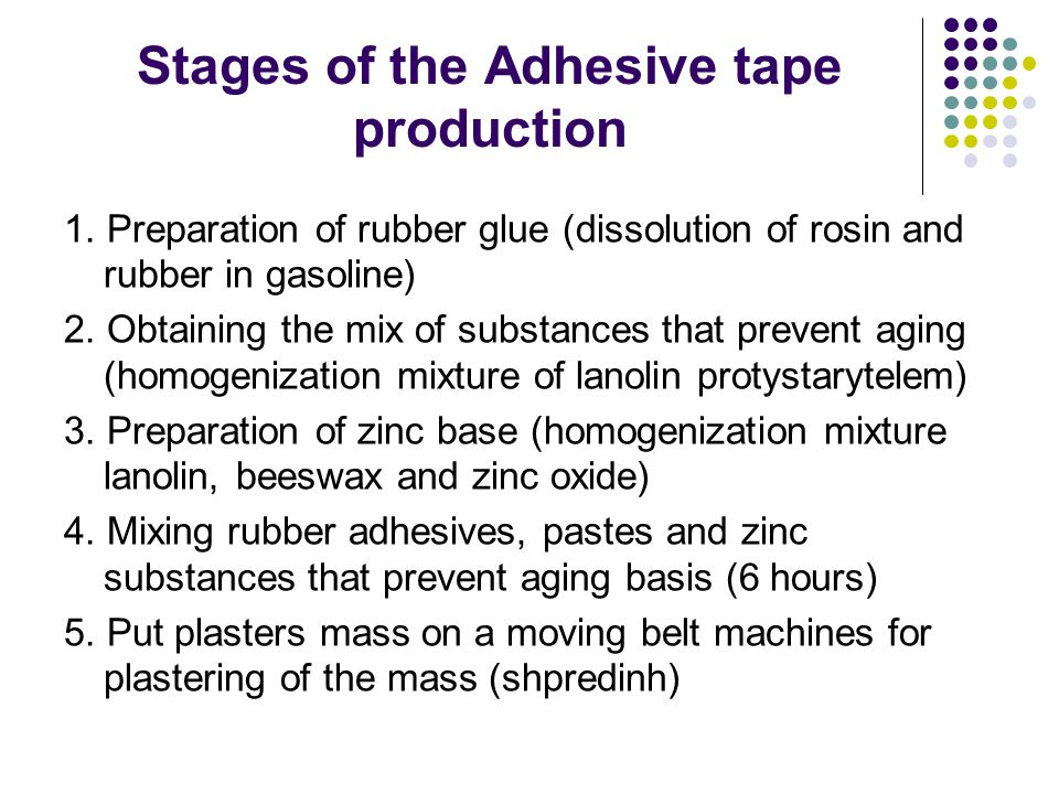 Stages of the Adhesive tape production 1.