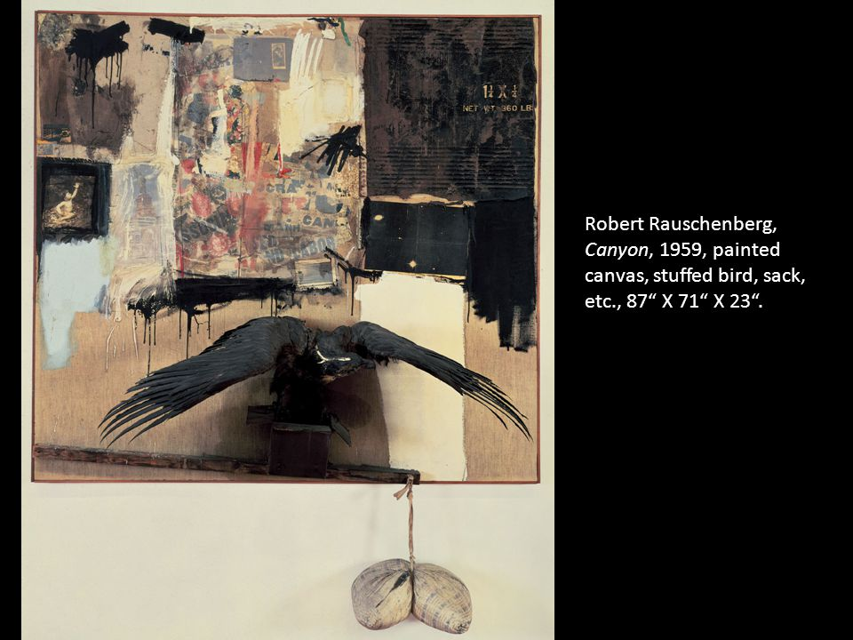 Robert Rauschenberg, Canyon, 1959, painted canvas, stuffed bird, sack, etc., 87 X 71 X 23 .