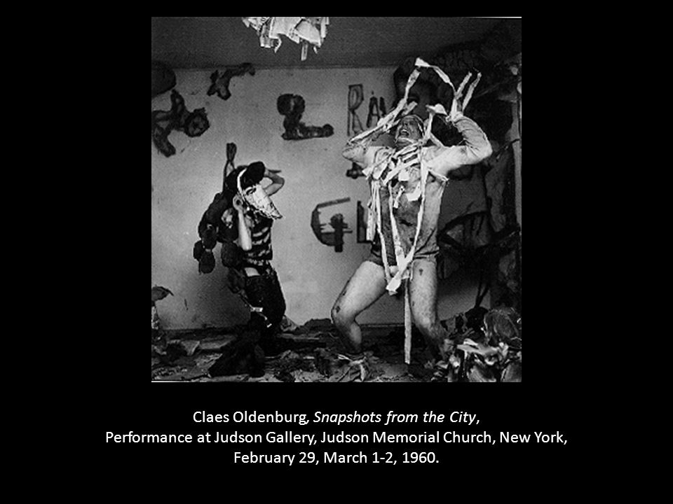 Claes Oldenburg, Snapshots from the City, Performance at Judson Gallery, Judson Memorial Church, New York, February 29, March 1-2, 1960.