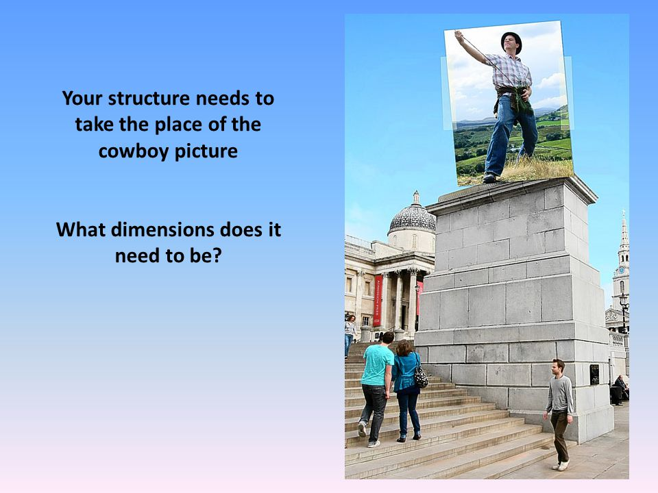 Your structure needs to take the place of the cowboy picture What dimensions does it need to be