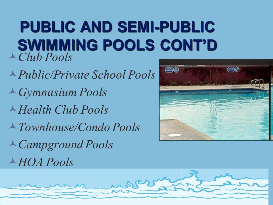 PUBLIC AND SEMI-PUBLIC SWIMMING POOLS CONT'D Club Pools Public/Private School Pools Gymnasium Pools Health Club Pools Townhouse/Condo Pools Campground Pools HOA Pools