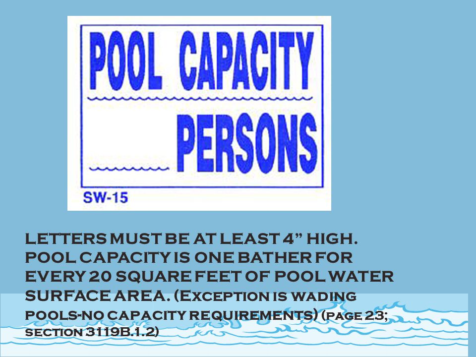 MUST BE POSTED AT ALL POOLS NOT CHARGING A 'DIRECT FEE' FOR USE. (PAGE 2; 116045)