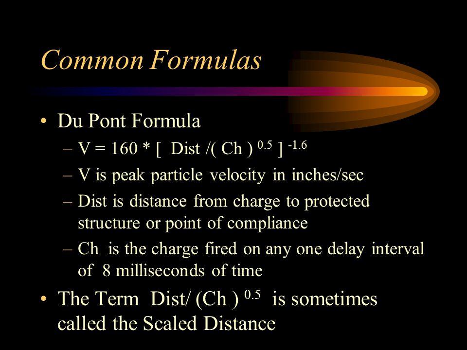Other Formulas Formulas have the form –V = K 1 * [ Dist / (Ch) 0.5 ] K 2 Schemes try to make charge a function –V / K 1 = [ Dist / (Ch) 0.5 ] K 2 –( V / K 1 ) (1 / K 2 ) = [ Dist / (Ch) 0.5 ] –Ch = { Dist / [ (V / K 1 ) (1/K 2 )] } 2 –Ch = ( Dist / K3 ) 2 Coal Industry Regulatory Formula –Ch = ( Dist / 60 ) 2