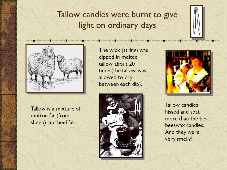 Tallow candles were burnt to give light on ordinary days Tallow is a mixture of mutton fat (from sheep) and beef fat.