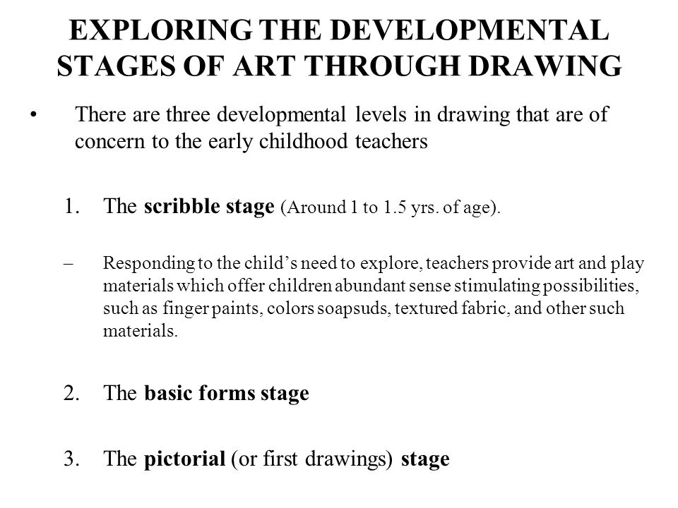 EARLY SCRIBBLE STAGE: DISORDERED OR RANDOM SCRIBBLING Disordered or random scribbling stage is the early scribble stage, in which the child does not have control over hand movements or the marks on a page.